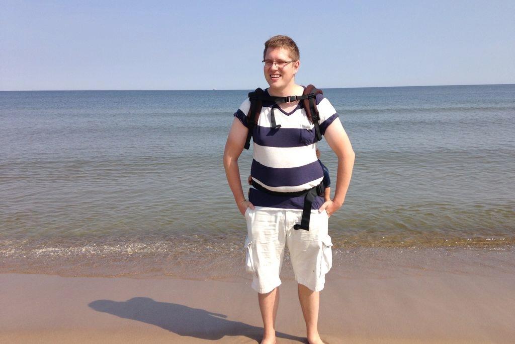 Spacer nad morzem, tutaj testowaliśmy nosidło Tula, w porównaniu z wózkiem ratowało nam życie :)