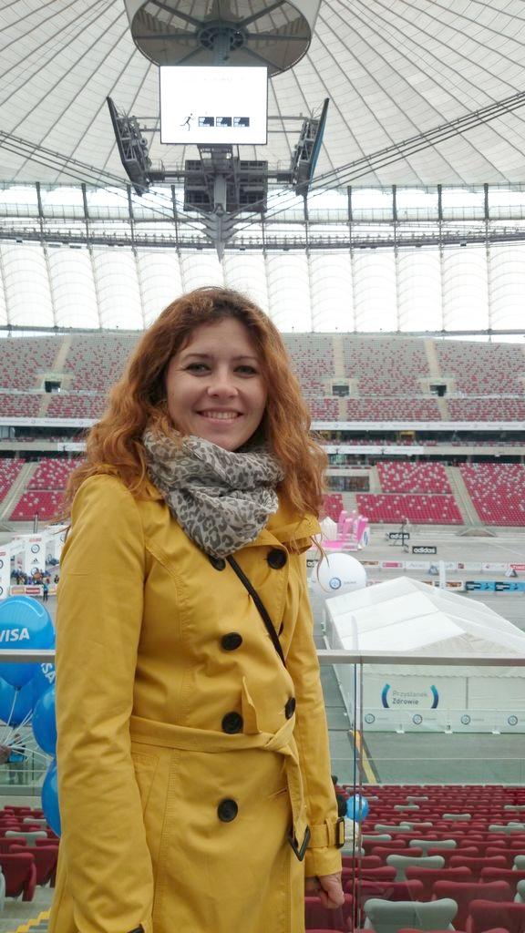 Stadion Narodowy, nie byłam tutaj do tej pory, teraz odbieraliśmy pakiet startowy na maraton