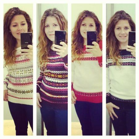 Tutaj cztery swetry :) Zastanawiałam się, który wybrać. Normalnie na wieszaku mega podobał mi się drugi, ale to jednak nie moje kolory. 1 i 4 super.