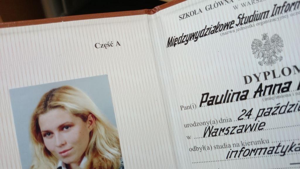 W tym tygodniu przygotowałam Wam też wpis o studiach :) a tu mój pierwszy dyplom, na drugim już bardziej siebie przypominam :)