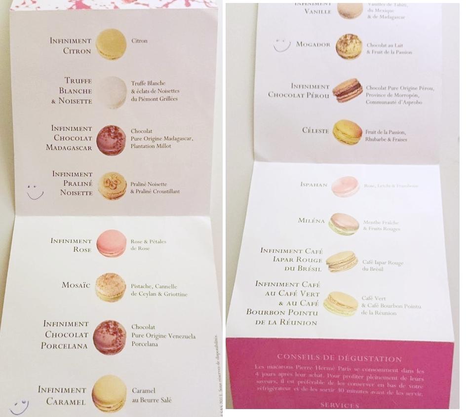 Tutaj lista smaków macarons od Herme. Na bieżąco dopisywałam usmieszki przy smakach, które wyjątkowo przypadły mi do gustu.