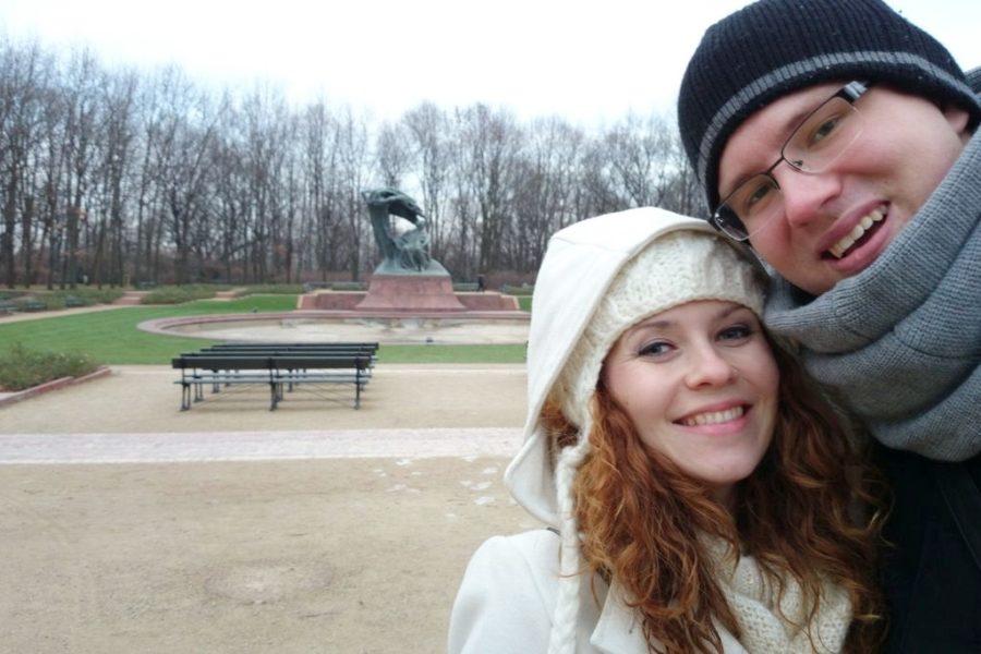 Spacer zimą, tego dnia było strasznie zimno, mam wrażenie, że tylko my byliśmy w Łazienkach :)