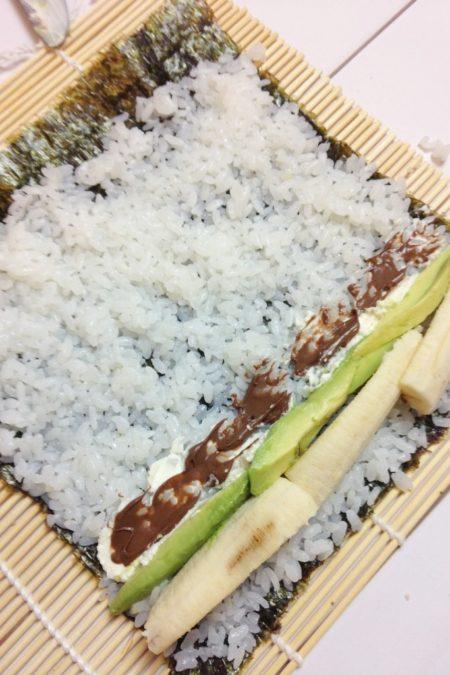 Zrobiliśmy też baaaardzo dużo sushi, nawet eksperymenty były... z bananem i czekoladą :D