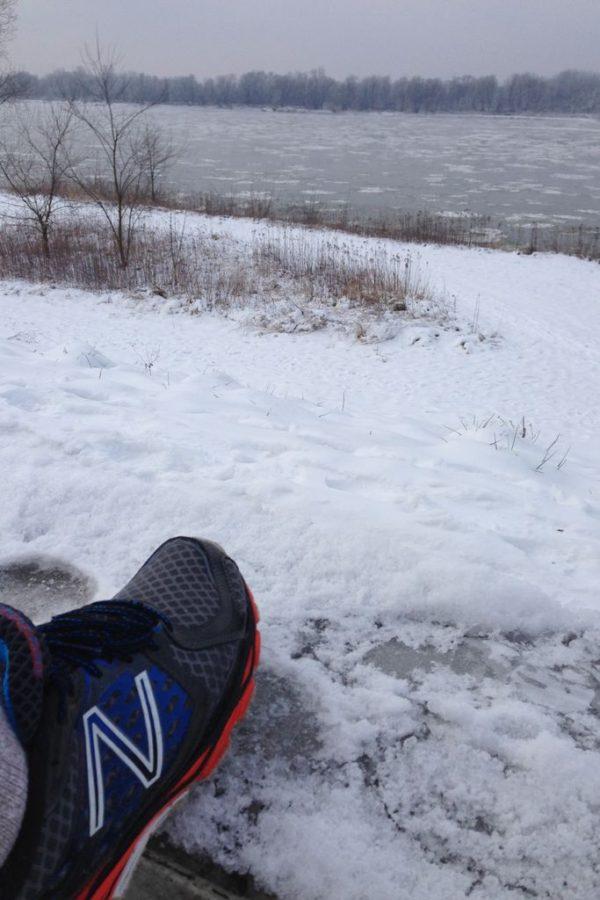 Widok na Wisłę, zima, mróz, bieganie!