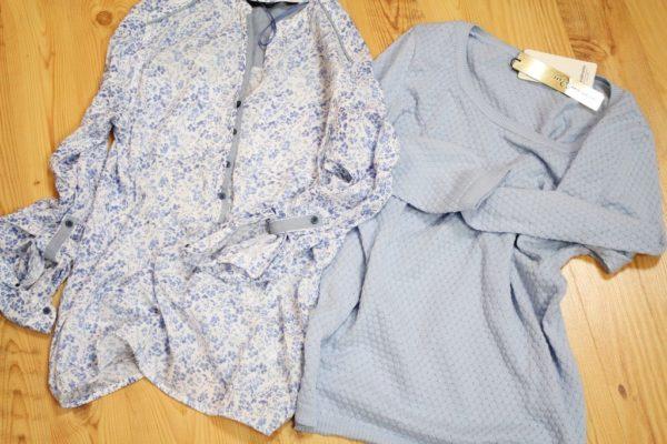 Koszula niebieska łączka (a jak!) i sweterek również niebieski – uwielbiam ten kolor