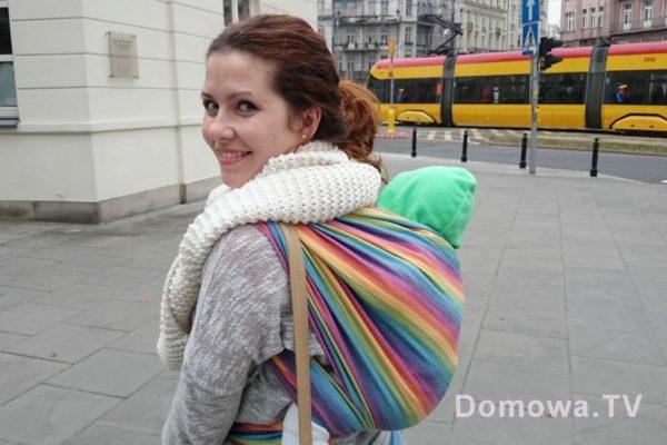 """4. Jeden z moich pierwszych plecaków chustowych """"tak do ludzi"""" :) cudowna miękka tęczowa. Lenny Lamb Tęczowa"""