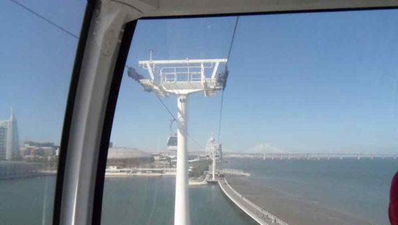 Widok na Tag i most Vasco da Gama z kolejki