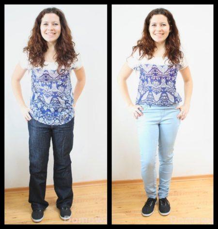 Spodnie za duże dwa rozmiary i wizualnie +5kg :). Po prawej już szczuplej. Odchudzanie w 2 minuty