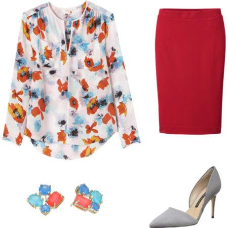 Kolor ze wzoru połączony z resztą ubioru. Stylizacja stworzona przez Kalinę Kaczmarek w portalu polyvore.com
