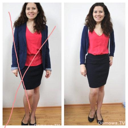 Moje ulubione zdjęcie-porównanie, które będę dawać do upadłego :) Po lewej rozmiar za duża marynarka, luźna bluzka, po lewej znacznie lepiej - ubrania w dobrym rozmiarze