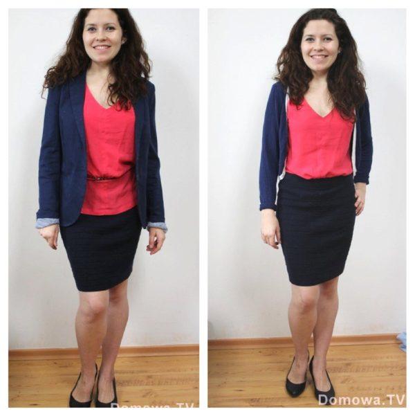Na pierwszy rzut oka te stylizacje są podobne. ALE. Marynarka z lewego zdjęcia jest za duża, po prawej jest sweterek, w którym lepiej wyglądam. Dodatkowo za długa bluzka została włożona do środka