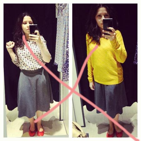 No i klasyka - za długa spódnica, bluzka na zewnątrz, czyli wyglądam na starszą, w dodatku niższą i grubszą. Unikamy :)