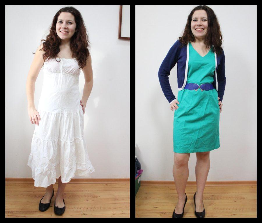 Tutaj przykład. Lubiana sukienka, która ma kiepską dla mnie długość (ta biała), a po prawej krótsza, w której wyglądam szczuplej