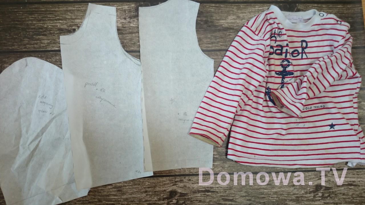 Wykrój bluzeczki na bazie ubranka