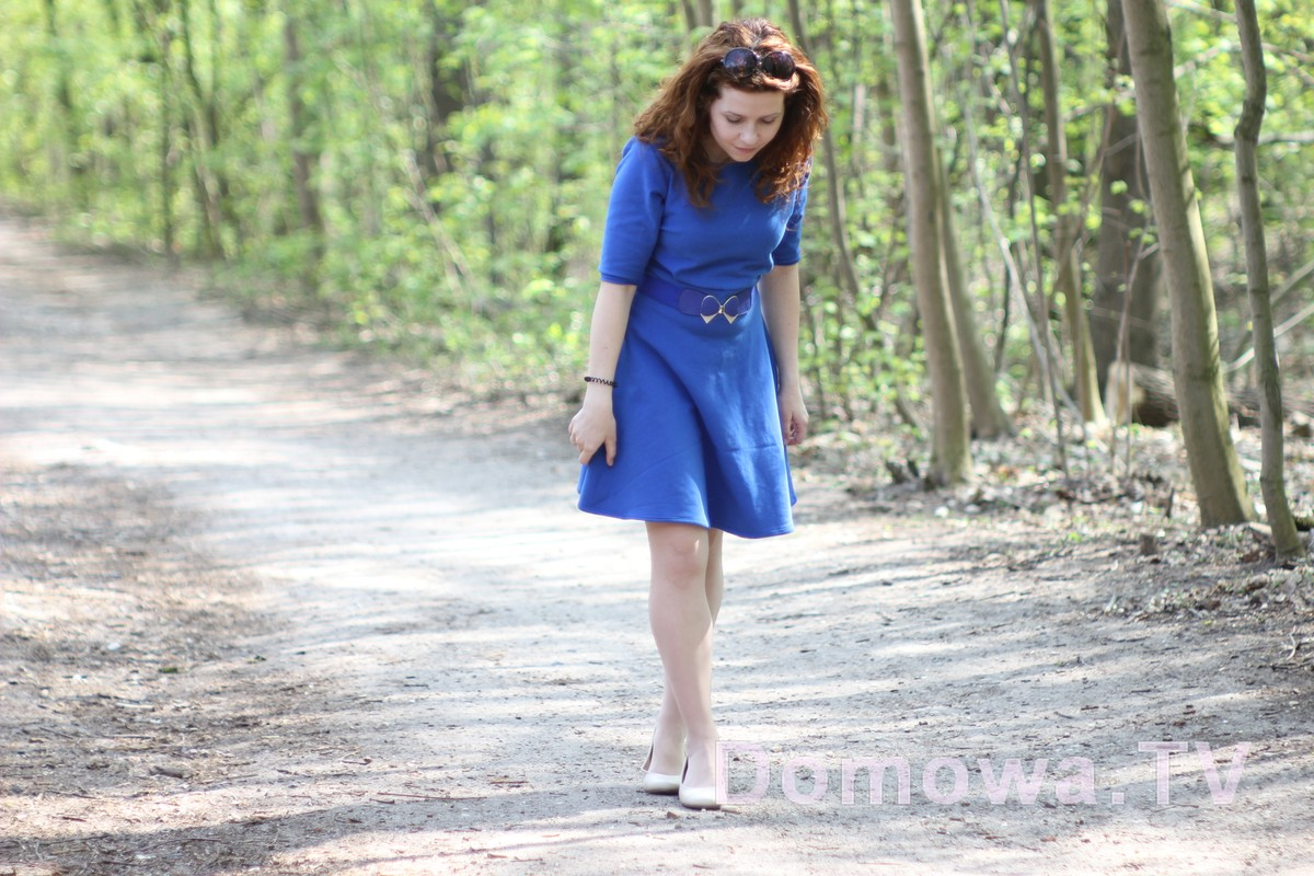 Chabrowa dresowa sukienka