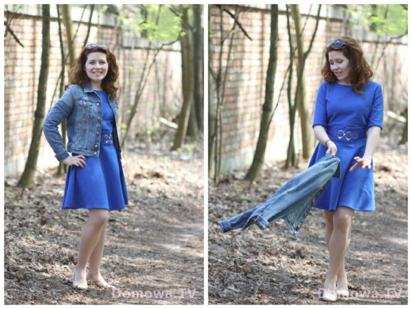 Dresowa sukienka w połączeniu z bluzą jeansową