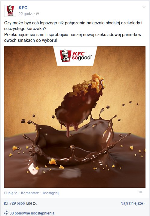 Kurczaki w sosie czekoladowym, foto z Facebook KFC