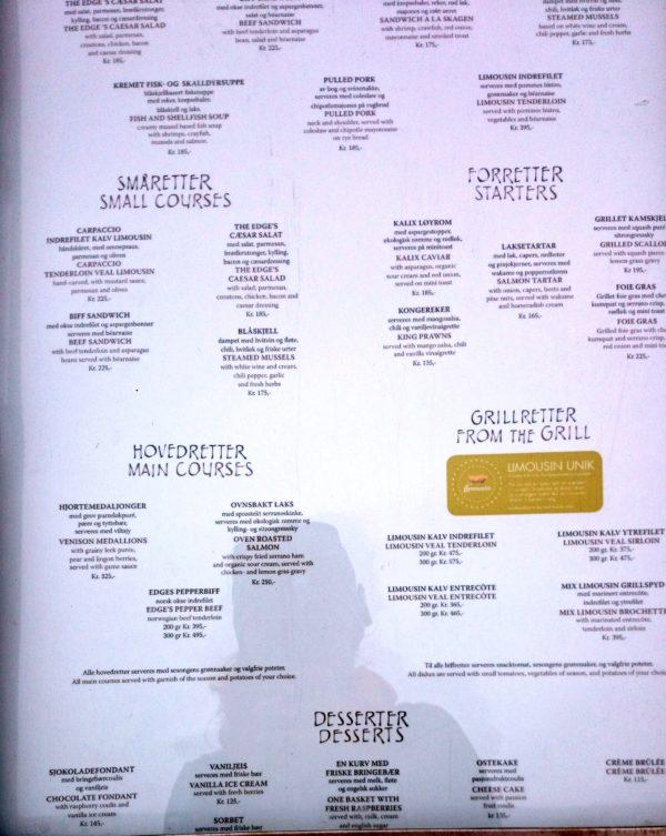 I menu jednej restauracji tak dla przykładu, zupełnie przypadkowej