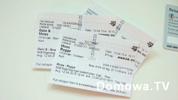 Pociąg do Rygge skąd lecieliśmy samolotem to koszt dla naszej czwórki (do 4 lat dzieciaki za free) ok. 350 nok = 175 zł