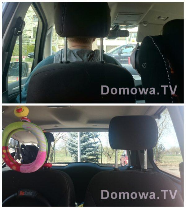 Oto zdjęcie jako dowód na to, że dziecko jadące tyłem widzi nawet więcej :) Zdjęcie u góry to widok 2,5 letniego dziecka przodem do kierunku jazdy, widok 2 to to co widzi dziecko tyłem do kierunku jazdy. Całkiem dużo prawda? :)