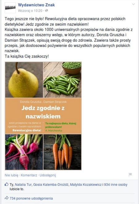 Książka dieta z godna z nazwiskiem, foto z Facebook Znak Wydawnictwo