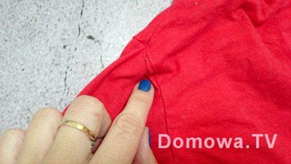 Złapany kawałek materiału przy wszywaniu rękawa