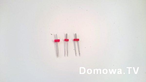 Igły podwójne, od lewej o rozstawie 2 mm, potem 4 mm i 6 mm
