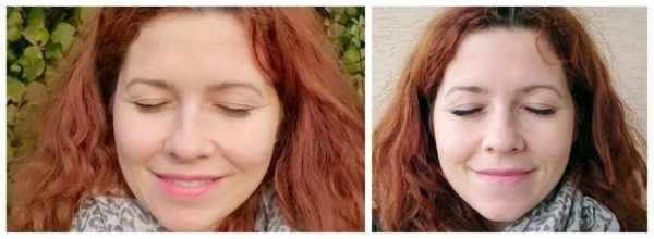A tutaj po lewej rzęsy pomalowane bez przedłużenia (lewo) i po prawej bez makijażu, ale przedłużone