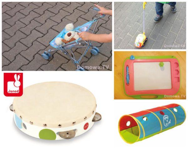 Inne zabawki: wózeczek, zabawka na kiju, instrumenty muzyczne, znikopis, tunel