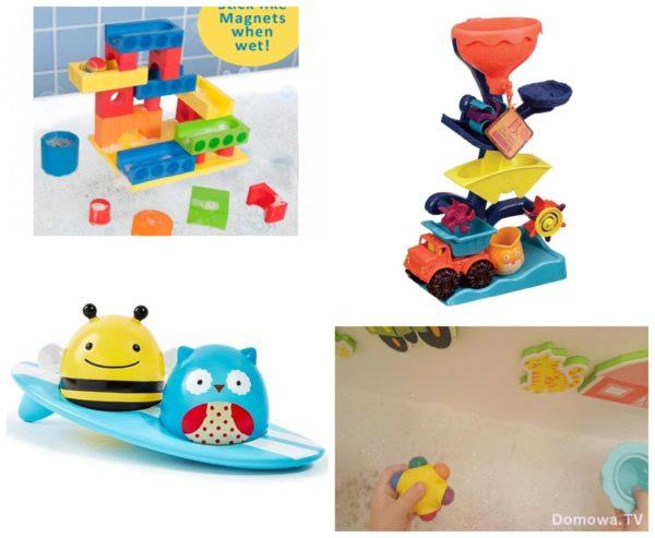 Zabawki kąpielowe, wspomniane klocki, przelewak, surferzy i kredki oraz piankowe klocki