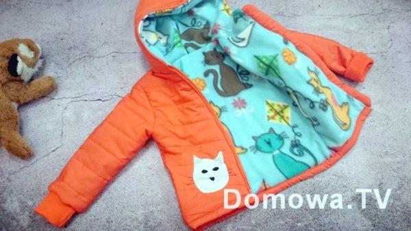 Pomarańczowa kurtka pikowana dla dziecka
