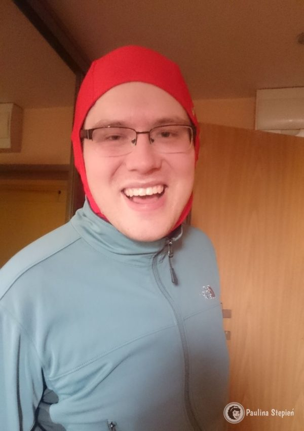 Michał po przebiegnięciu dystansu półmaratonu