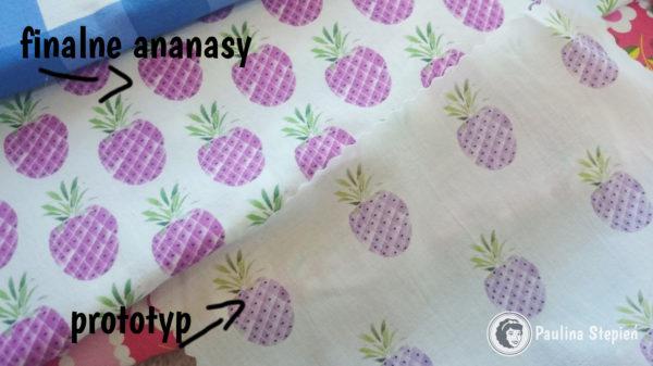 Ananasy najpierw zrobiłam bledsze (próbka prototyp), a potem poprawiłam je na mocniejsze i gęściej ułożone