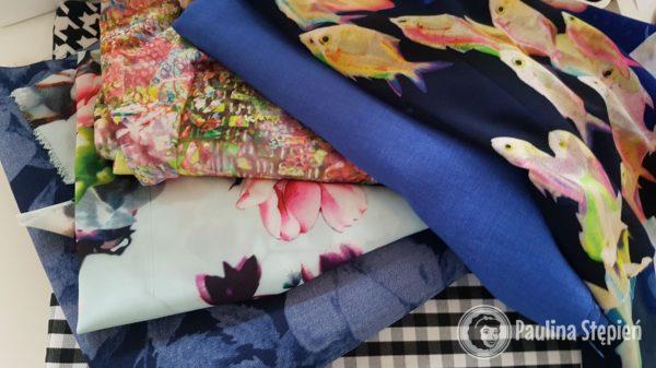 To moje ostatnie zakupy: piękną silky lyrca, len wisher, dzianiny, cienki jenas kwiatowy i bawełna na koszulę :)