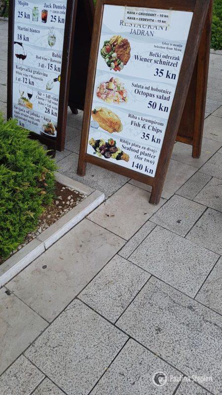Przykładowe menu chorwackie, Szybenik