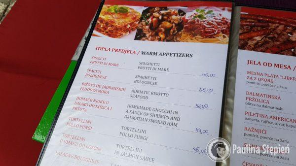 Przykładowe menu chorwackie
