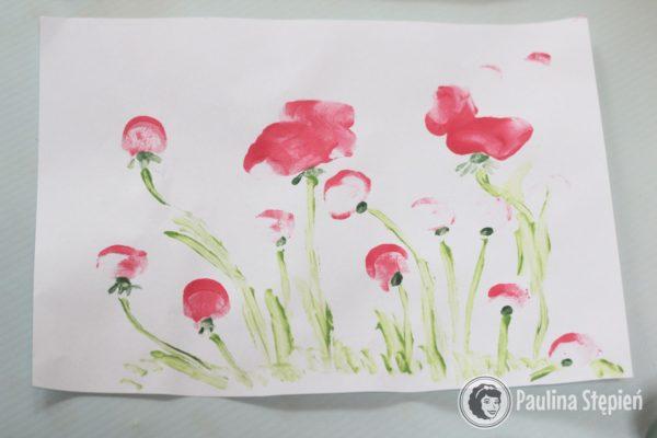 Kwiaty z odciśniętych paluszków