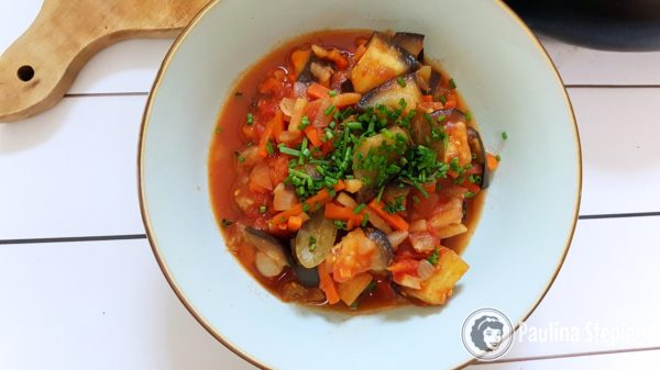 Obiad, bakłażan z warzywami