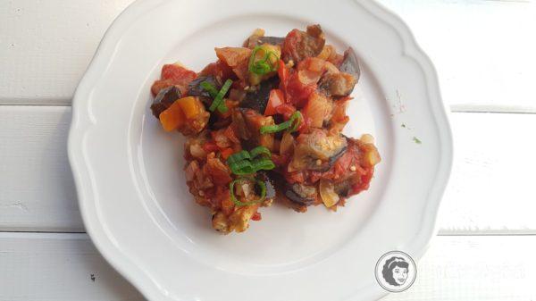 Obiad 16, bakłażan z warzywami