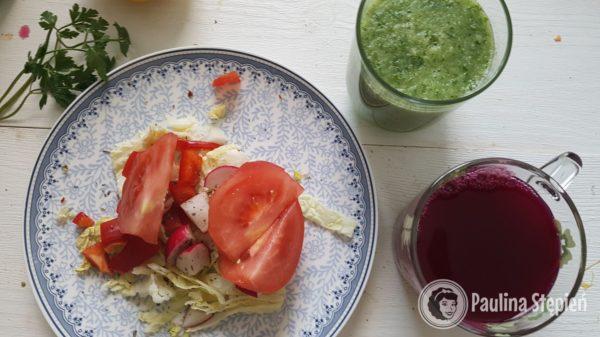 Śniadanie 21, zakwas, koktajl, sałatka