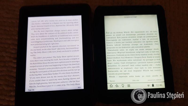 Podświetlenie, po lewej Kindle po prawej inkbook