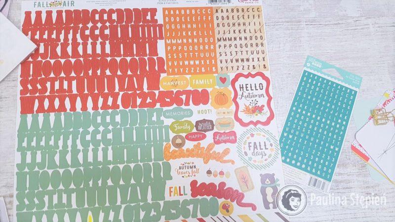 Alfabety na arkuszu z innymi naklejkami, o których wspomniałam, Echo Park