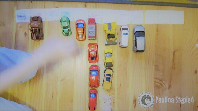 Pasy i ustawianie pojazdów/dinozaurów/klocków zgodnie z kolorem