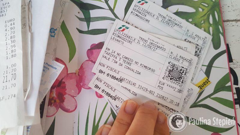 Bilety za przejazdy, tutaj głównie te z trasy Cinque Terre