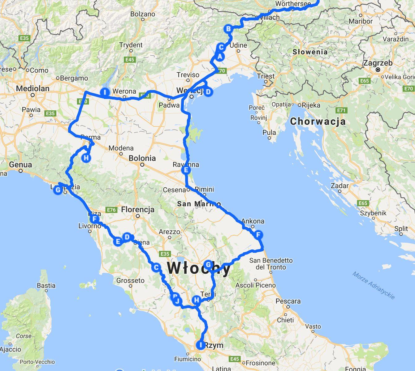 Mapa z trasą naszej podróży