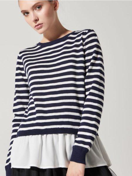 Swetero-bluzka z falbaną