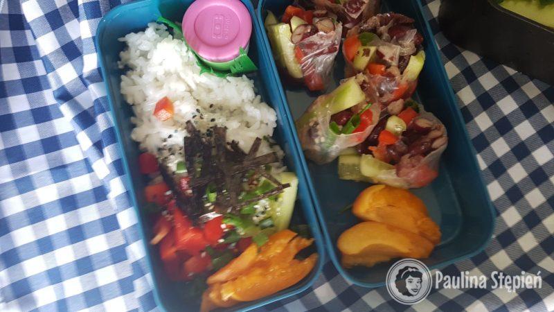 A to moje pudełko (Mchał ma identyczne tylko większe), w jednym sushi bowl, a w drugim spring rolls