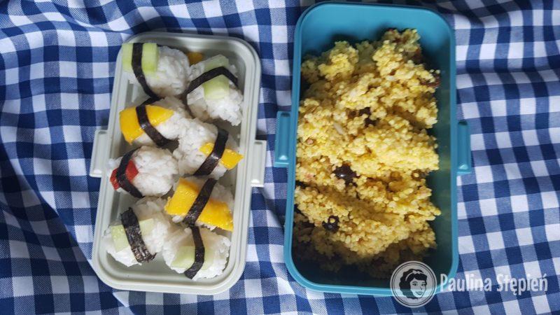 U dzieci sushi z mango, ogórkiem i papryką oraz kasza na słodko