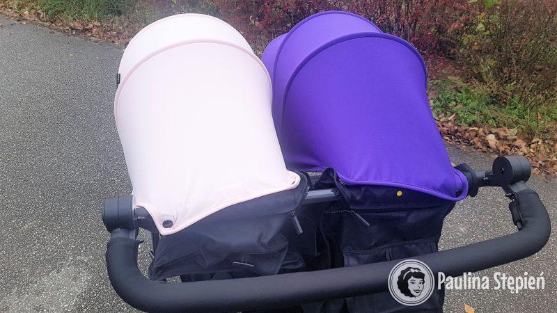 Wózek z dwiema różnymi kolorystycznie budkami