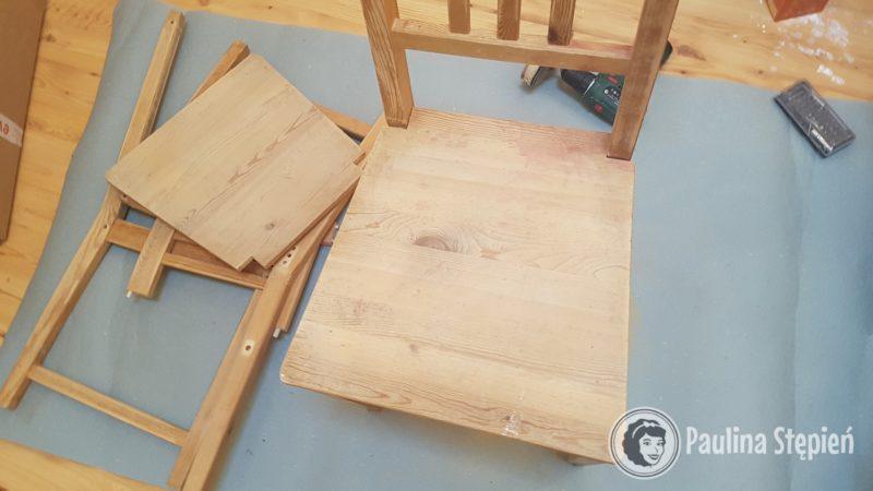 A tutaj rozkręciłam krzesła, by pomalować dokładniej